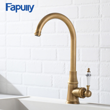 Fapully Chinese Kitchen Faucet Brushed Nickel Ceramic Handle White Flower Painted Deck Mounted Water Tap Rotation Mixer 170-33N недорого