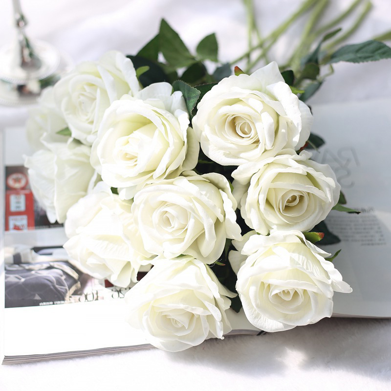 Bouquet de fleurs branches 5 pièces 51cm de Long | Belles Roses blanches en soie, fausses fleurs artificielles pour décor de Table maison et mariage, arrangement de fausses fleurs