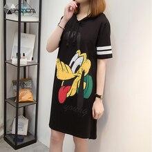 2019 Summer Plus Size Dress Fashion Hoooded Loose Streetwear Cute Striped Dresses Casual Goofy Print Women Cartoon Dress XL-5XL cartoon print striped night dress