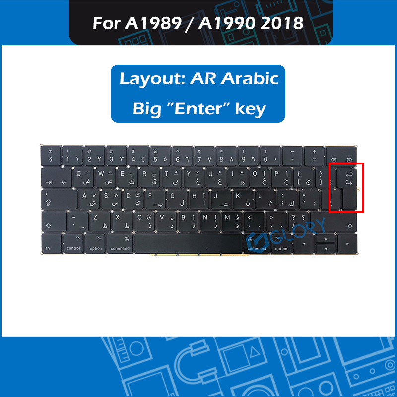 New Laptop A1989 A1990 keyboard AR Arabic Layout For font b Macbook b font Pro Retina