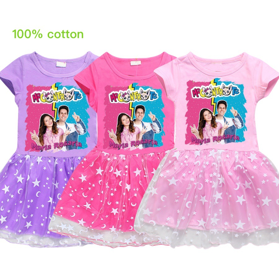Me Contro Te Children's Clothing Girls Dress Summer 2020 Lace Cartoon Foreign Tide Children's Beautiful Princess Pleated Dresses