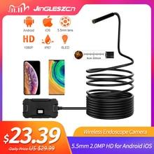 Caméra Endoscope WiFi sans fil, étanche, HD, 5.5mm, 2 mp, pour serpent, pour tablette Android et iOS