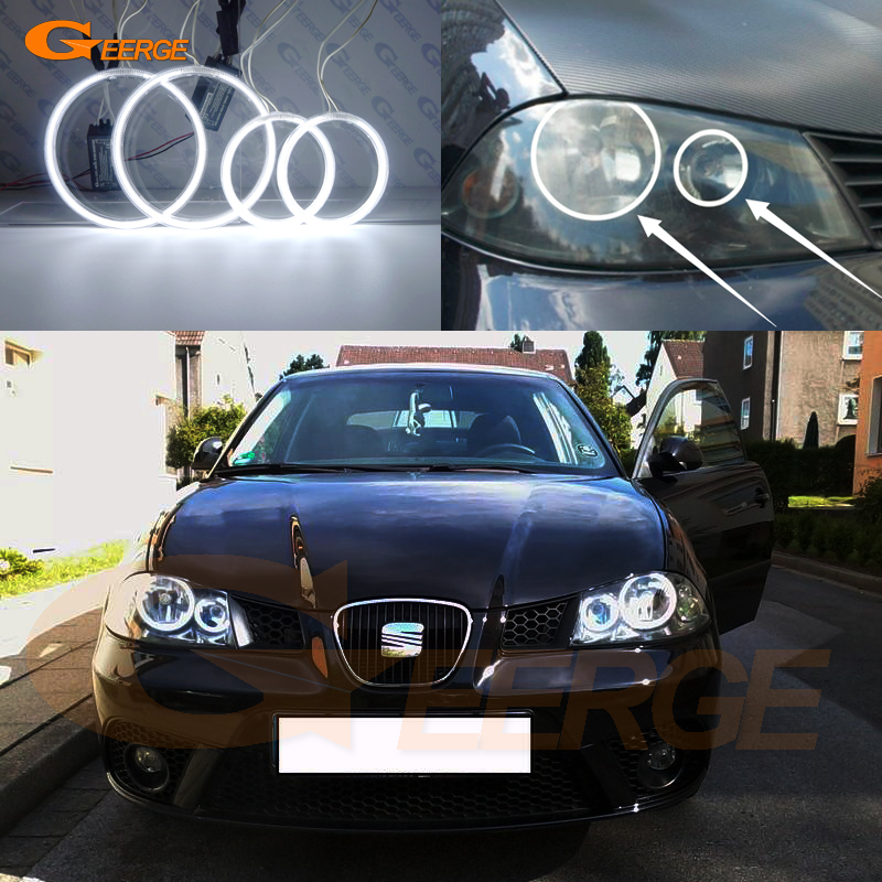 For SEAT IBIZA 6L CORDOBA Facelift 2006 2007 2008 Excellent CCFL Angel Eyes DRL Halo Ring Ultra Bright Illumination