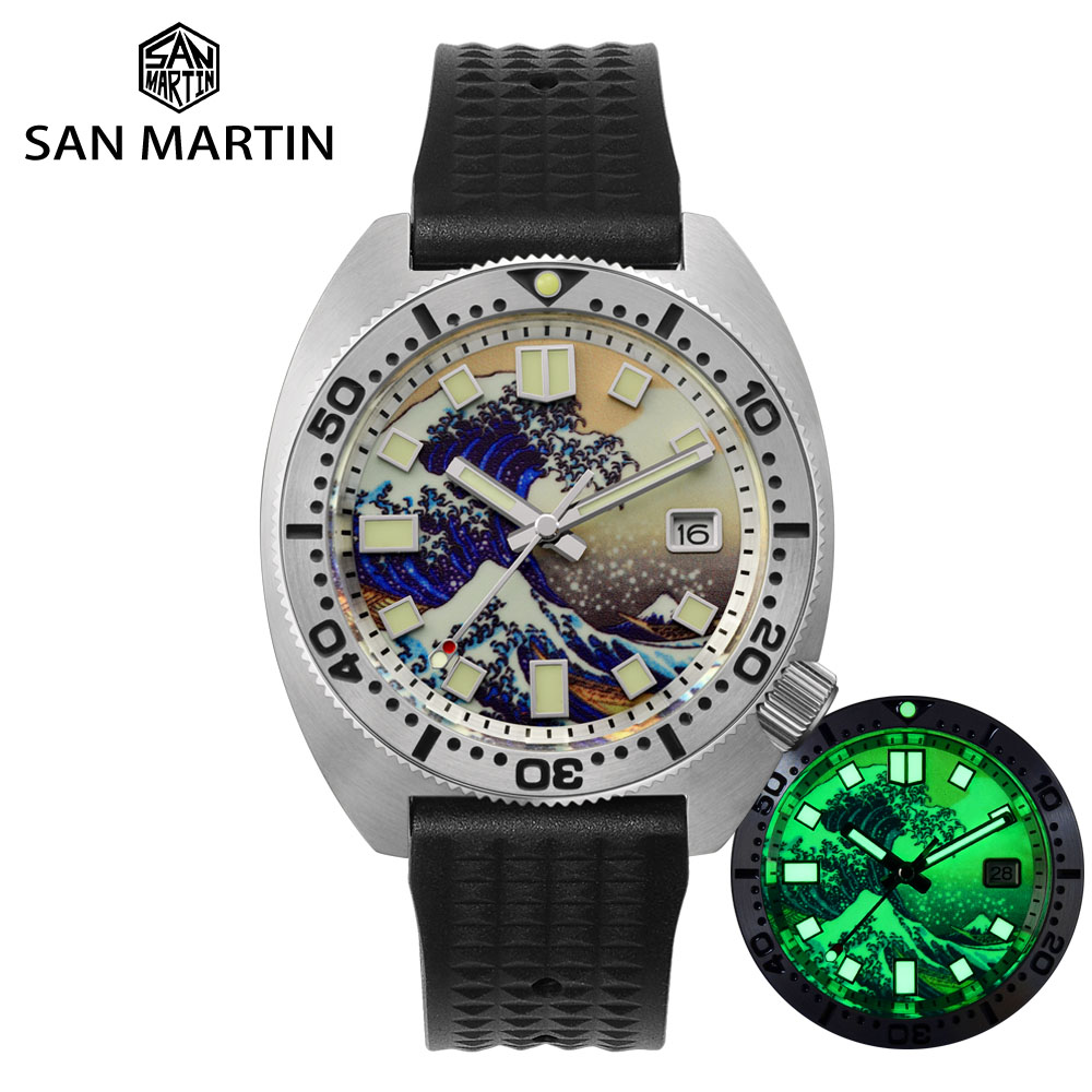 San Martin Diver 6105 Turtle 3D Printing Full Luminous Kanagawa Surfing Dial NH35 Automatic Mechanical Men Watch Sapphire Date