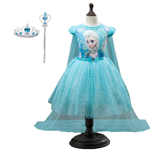 2020 Summer Cape Girl Dresses Princess Baby Kids Girls Clothes Children Clothing Cosplay Party Costume Anna Elsa Dress 3-10T(China)