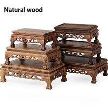Mesa de té de madera China Redwood tallado decoración Base jarrón Buda Kistler estante de exhibición Multi-uso rectángulo pequeña mesa de café