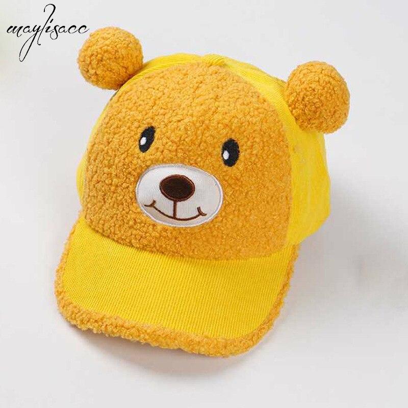 1-4 Years Old Kids Autumn&winter Children's Baseball Caps Hats Cute Bear Plus Velvet Padded Cap Cashmere Peaked Caps Flat Caps