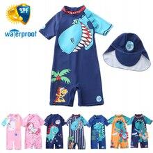 Girls Swimwear Bathing-Suits Beach-Wear Toddlers Baby Children Dinosaur UV with Hat 2pcs-Set