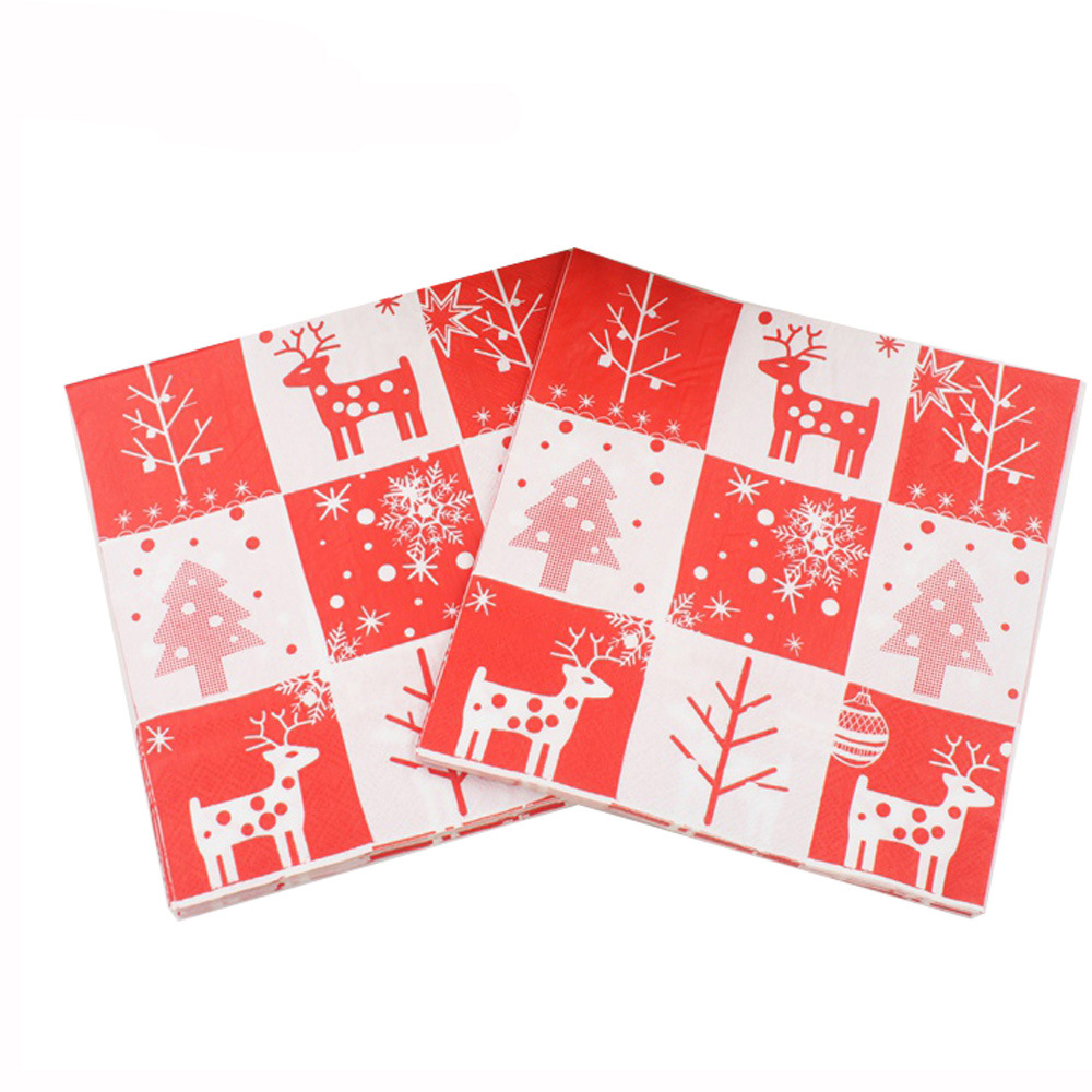 [] 2018 Christmas Printed Napkin Party Paper Christmas Elk Restaurant Ornaments Hot Selling