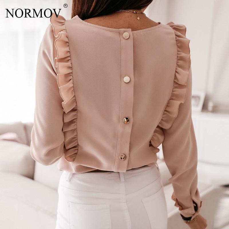 NORMOV Women Blouse Shirt Office Lady Vintage Pink Shirts Back Metal Buttons Tops Summer Casual O-Neck Long Sleeve Blusas Mujer