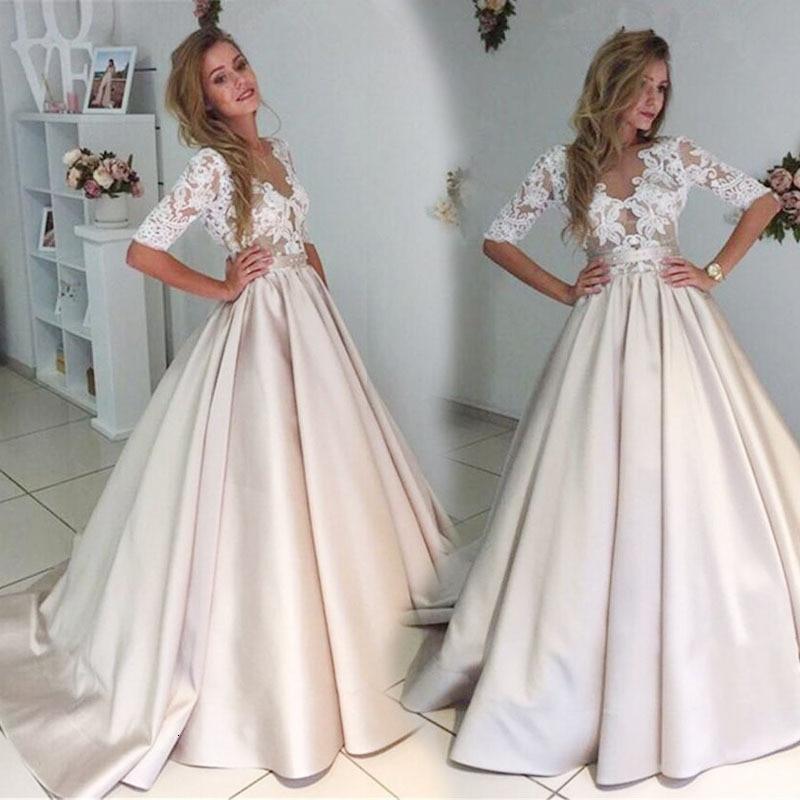 BacklakeGirls 2019 New Arrival Sexy O-Neck Half Sleeve Lace Satin Evening Dress Real Images Vestido Largo Fiesta
