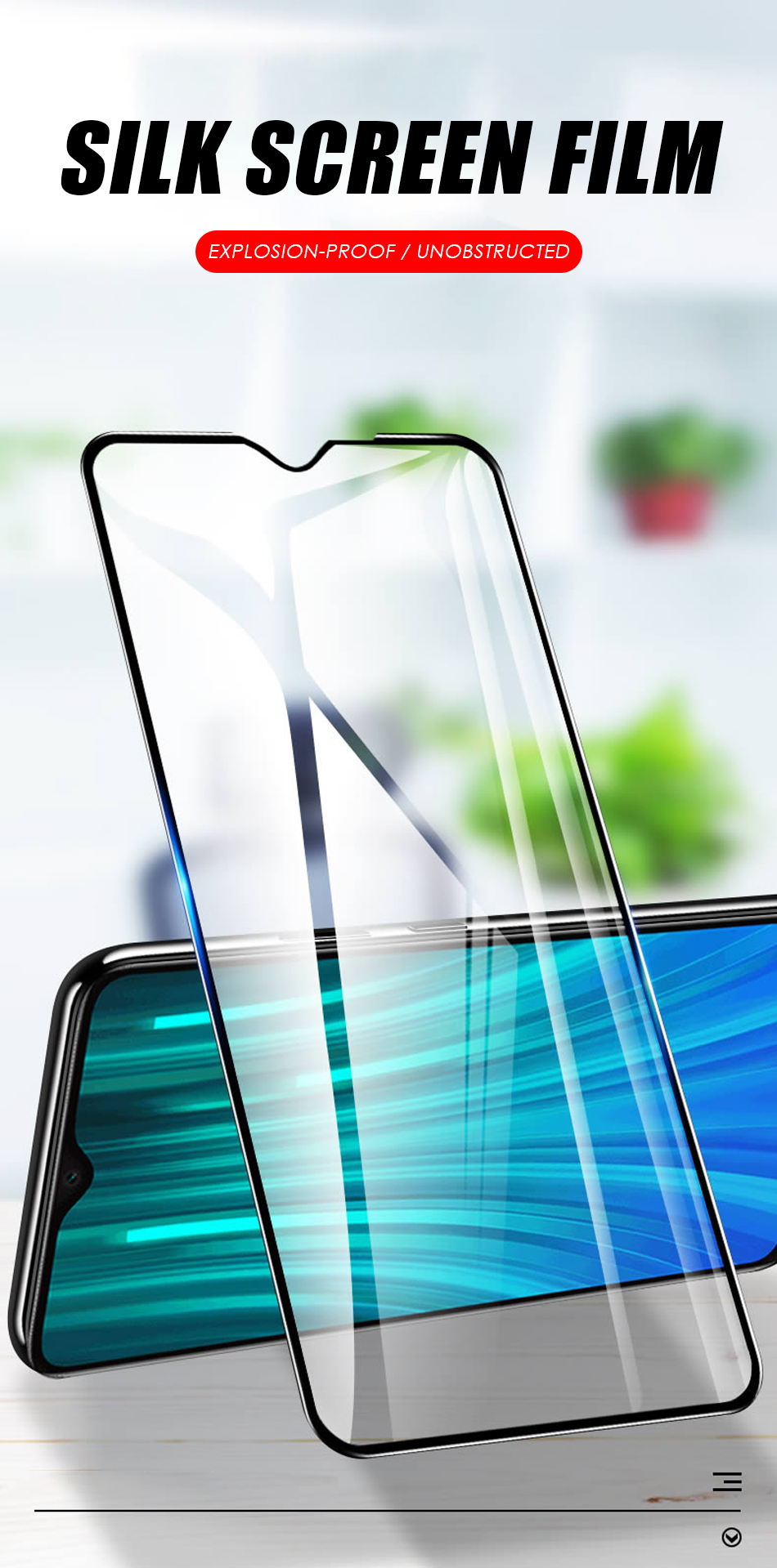2 in 1 HD Full Protective Clear Screen Tempered Glass Lens For Xiaomi Redmi 1