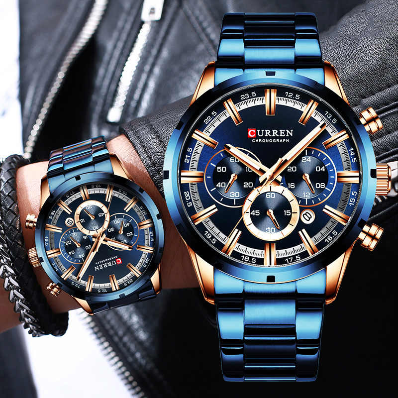 Curren Mens Watches Top Brand Luxury Blue Steel Quartz 2019 Chronograph Luxury Men Watch Blue Steel Men's Watch Blue Dial