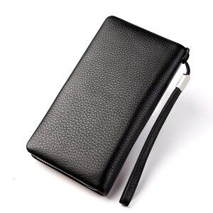 Image 3 - BISON DENIM en cuir véritable portefeuille hommes marque de luxe téléphone portefeuille fermeture éclair pièce longue sac à main grande entreprise mâle portefeuille N8252