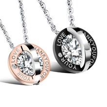 MINCN Round Inlaid Rhinestone Titanium Steel Couple Necklace Stainless Bohemian Jewelry