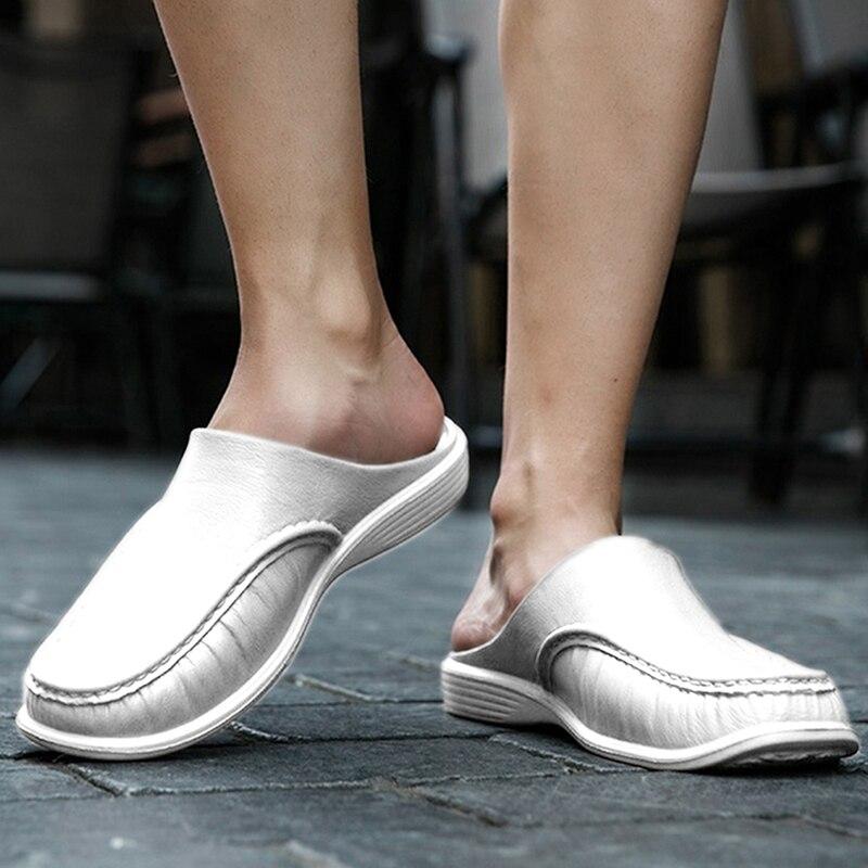 2020 Men Casual Shoes Men Sandals Male Driver Slippers Flats Half Drag Beach Shoe Outdoor Baotou Shoe Lazy Shoes Summer