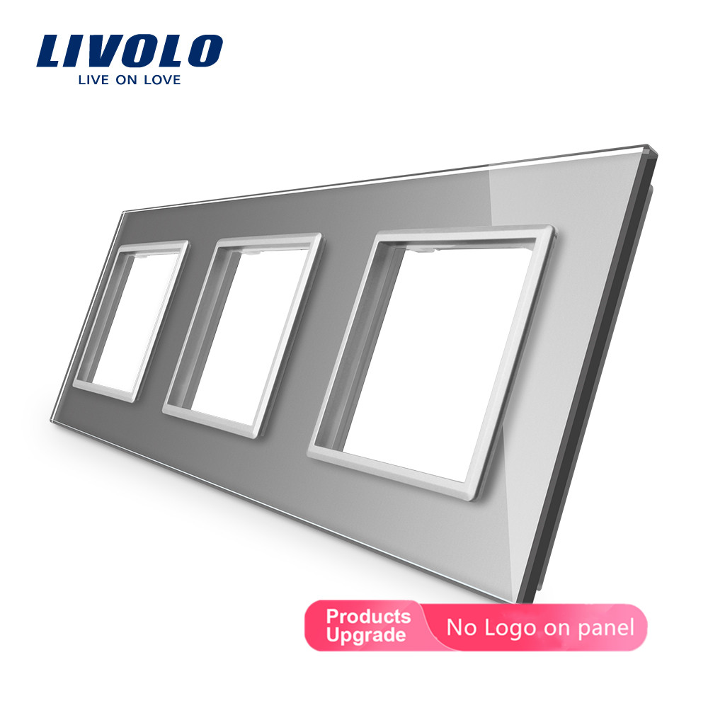 Livolo Luxury Crystal Glass Only ,EU Standard, Triple Glass Frame For Wall Socket,4 Colors