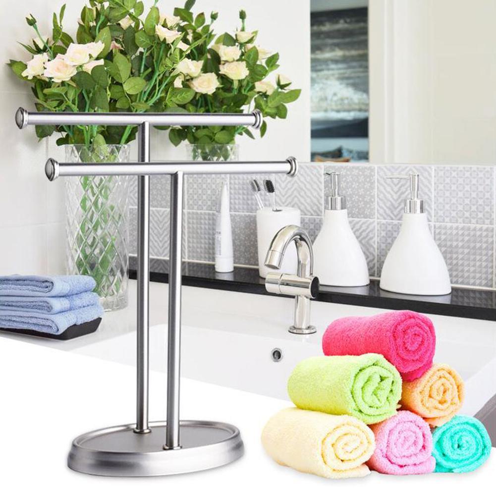 Household Towel Rack Floor Stainless Steel Double Pole Bathroom Double T shaped Towel Rack Bottom With EVA Anti skid Pad