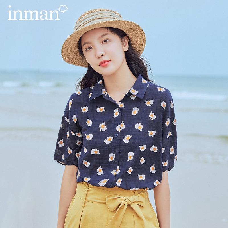 INMAN 2020 Summer New Arrival Lapel Funny Vintage Hongkong Style Print Loose Short Sleeve Blouse
