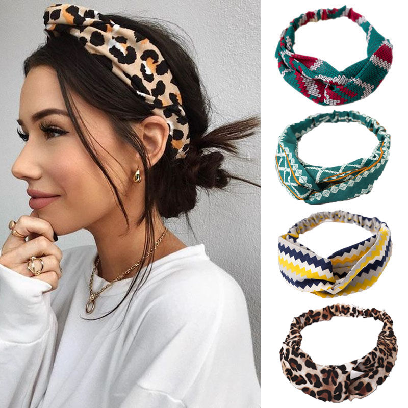2020 Fashion Bohemia Print Cross Knot Women Headband Turban Elastic Hairband Girls Headwear Lady Elegant Hair Accessories