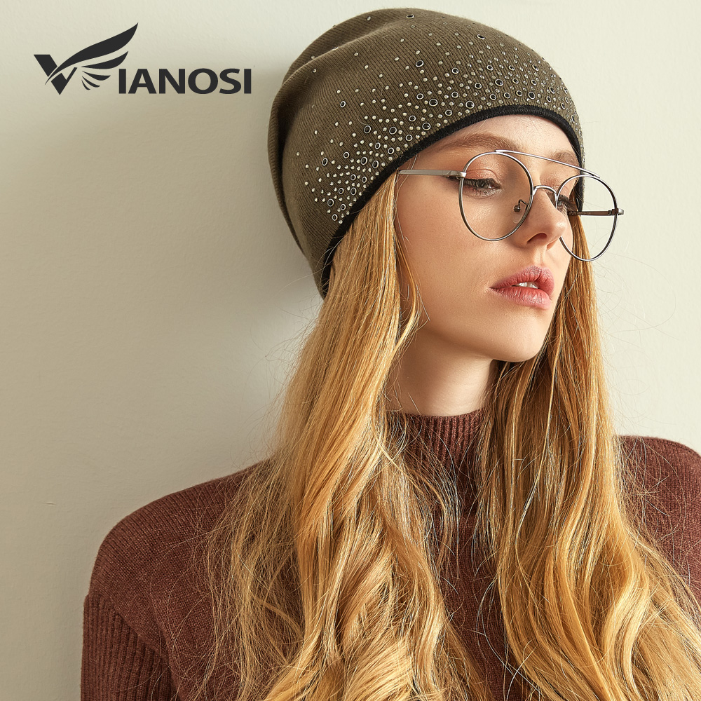 VIANOSI Fashion Winter Knitted Hat For Women Slouchy Beanie For Girls Skullies Cap Brand Wool Hats Gorras Mujer
