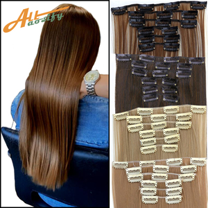 Allaosify 16 colors 16 clips straight synthetic hair extensions high temperature fiber clips black brown hairpiece