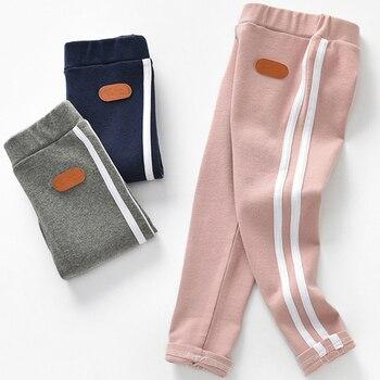 0-6T New Fashion Girl Pants Pure Color Side stripe Sports Leggings for Kid Girls Pants Kids Leggings Sport Trousers Outwear color block sports stirrup leggings
