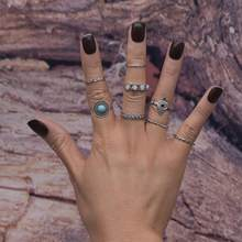 8 Pieces Retro Bohemian Turquoise Finger Ring Stacking Midi Finger Ring Jewelry Set Women Jewelry(China)
