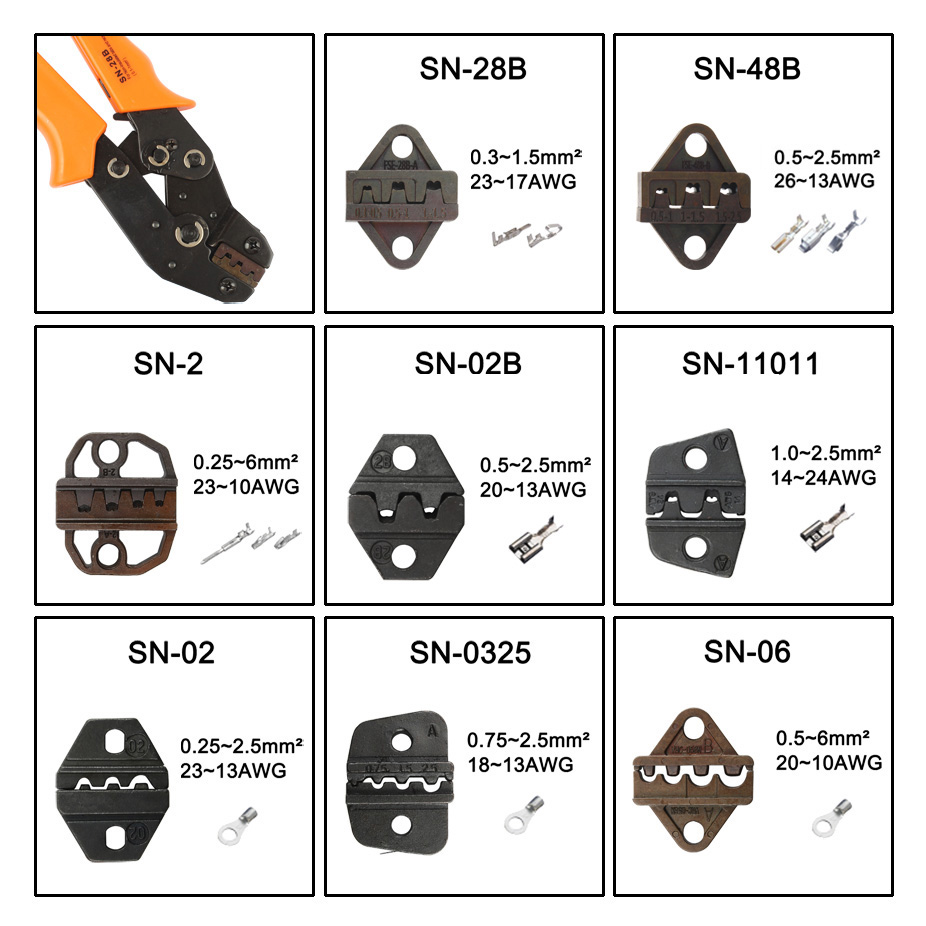 SN28B SN48B SN-2 SN02B SN11011 SN02 SN0325 SN06 MINI EUROPE STYLE Die Sets For SN CRIMPING PLIER Series Hand Crimping Tool
