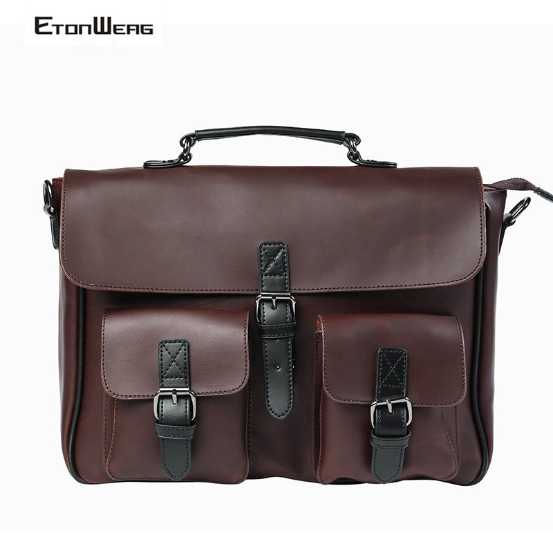 Business Office Briefcase Men Brand PU Leather Handbag Male Multifunction Messenger Bag Large Box Laptop Bag Women Vintage Tote