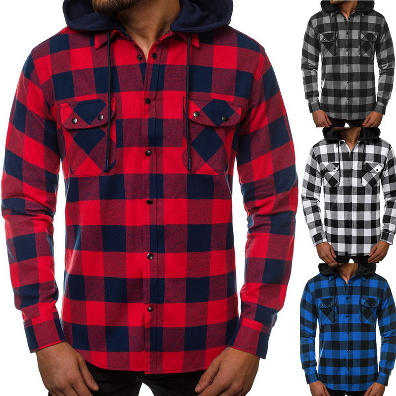 Puimentiua New 2019 Shirt Men Spring Hot Quality Plaid Shirts Hooded Outwear Long Sleeve Casual Male Chemise Homme EU Size