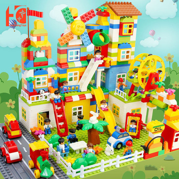 Educational Toys Constructor City Square 140/200pcs Large Building Blocks Gift For Children Designer Building Blocks ABD Castle cheap blocks electronic constructor building block designer kits for kids discover electronic science project circuit educatio