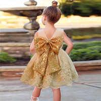 Vestido de cumpleaños de 3, 2 y 1 año, bordado, ropa para niña pequeña, Vestidos de princesa del arco dorado, vestido de bautismo para Infante, Vestidos de flores 2021