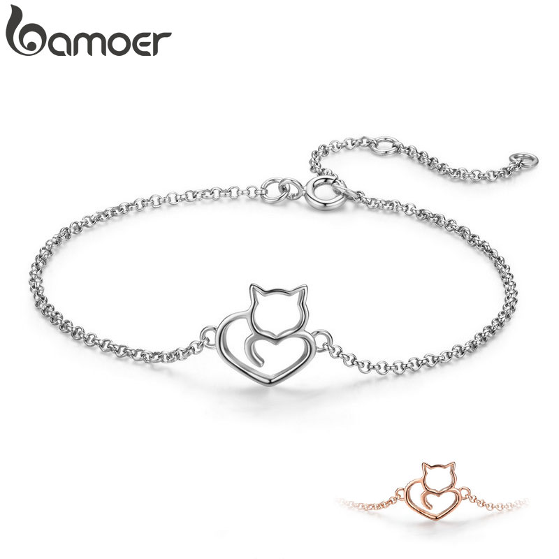 BAMOER 100% 925 Sterling Silver Cat And Heart Link Chain Bracelets & Bangles for Women Authentic Silver Jewelry Gift SCB102(China)
