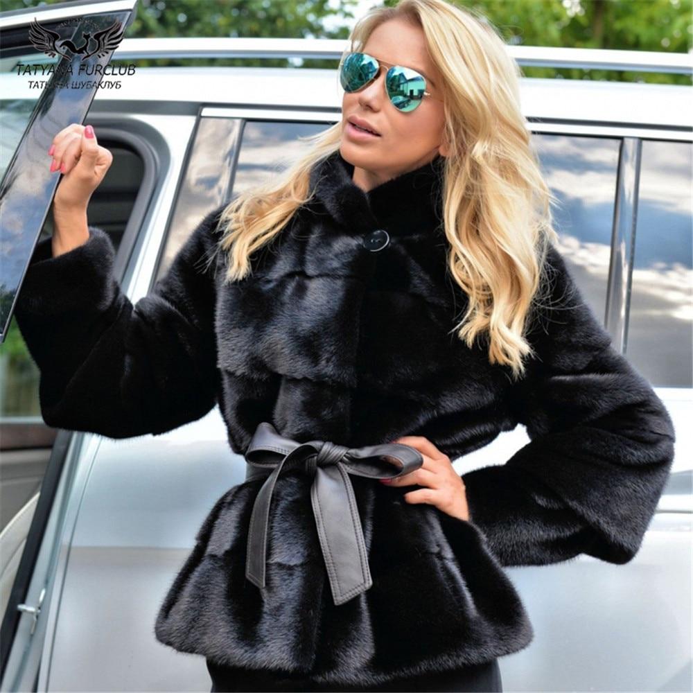 Tatyana Furclub 2019 Fashion Black Mink Coat With Belt Winter Real Fur Coat Women Plus Size Conventional Style Soft Warm Garment