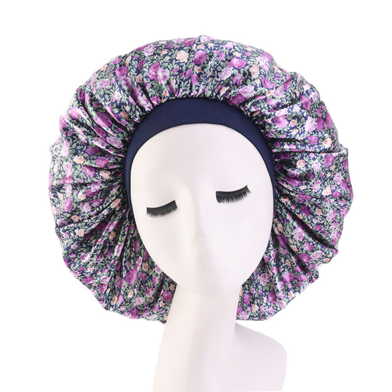 Extra Large Hair Styling Caps Lady Sleep Cap With Elastic Band Women Female Casual Satin Bonnet Sleeping Layer Smooth Hair Care