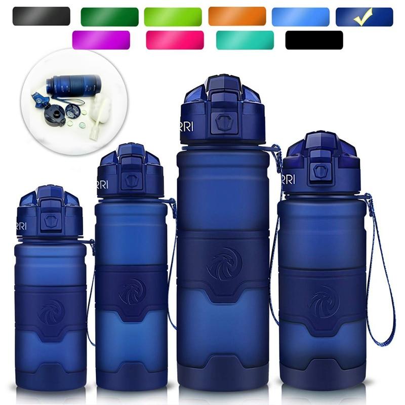 Botella de agua deportiva ZORRI azul oscuro, la mejor botella de agua libre de BPA reutilizable, botella para gimnasio, botella de agua para senderismo y ciclismo