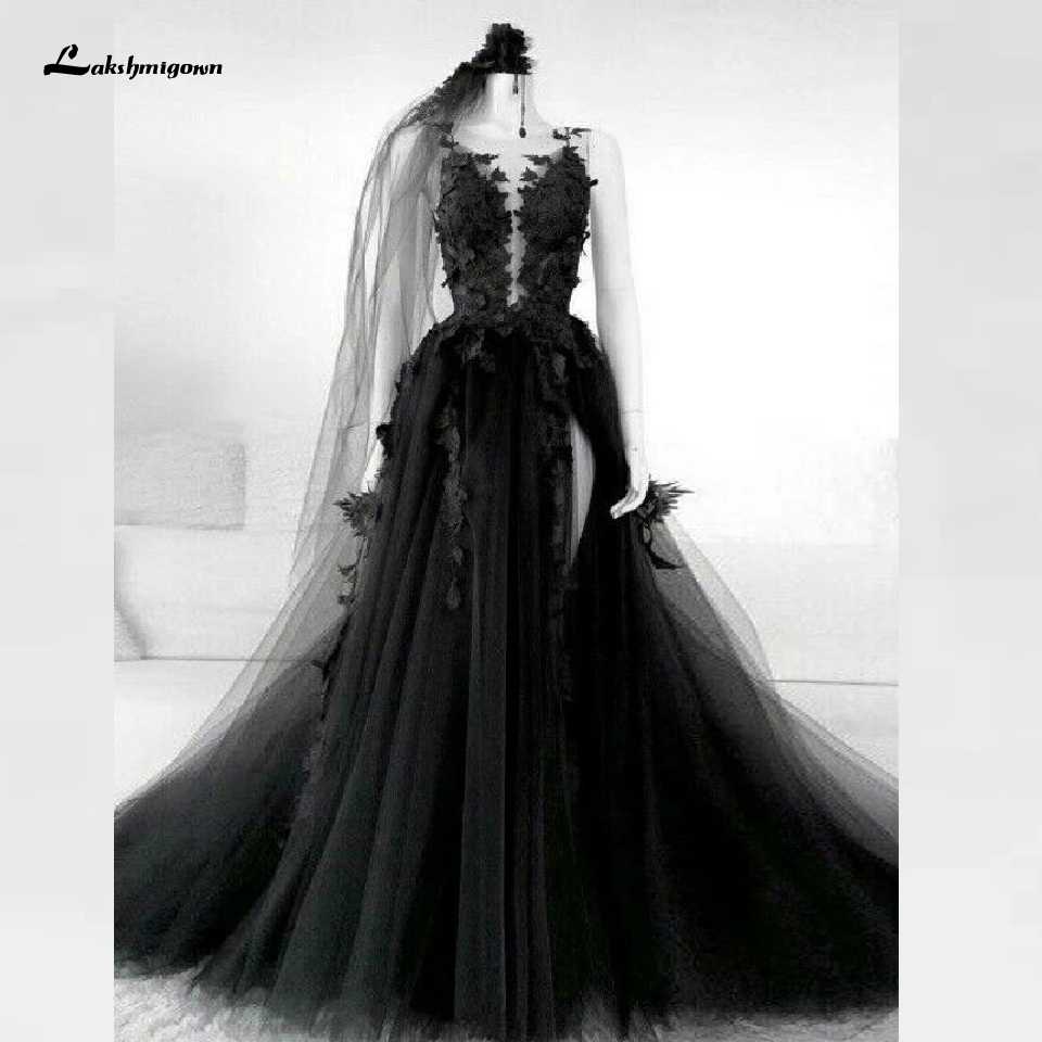 Floral Gothic Black Wedding Dress Side Split Sexy Bridal Gown 2020 Vestidos De Novia Backless Puffy Tulle Wedding Gown Plus Size