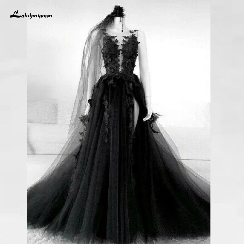Floral Gothic Black Wedding Dress Side Split Sexy Bridal Gown 2020 Vestidos de Novia Backless Puffy Tulle Wedding Gown Plus Size