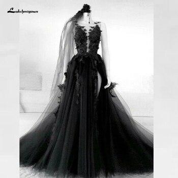Floral Gothic Black Wedding Dress Side Split Sexy Bridal Gown 2020 Vestidos de Novia Backless Puffy Tulle Plus Size - discount item  35% OFF Wedding Dresses