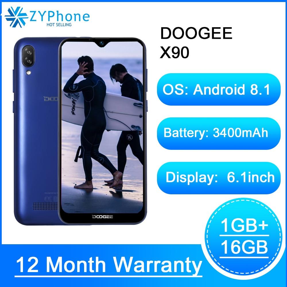 DOOGEE X90 Cellphone 6.1inch 19:9 Waterdrop LTPS Screen Smartphone Quad Core 16GB ROM 3400mAh Dual SIM 8MP 5MP WCDMA Android Go