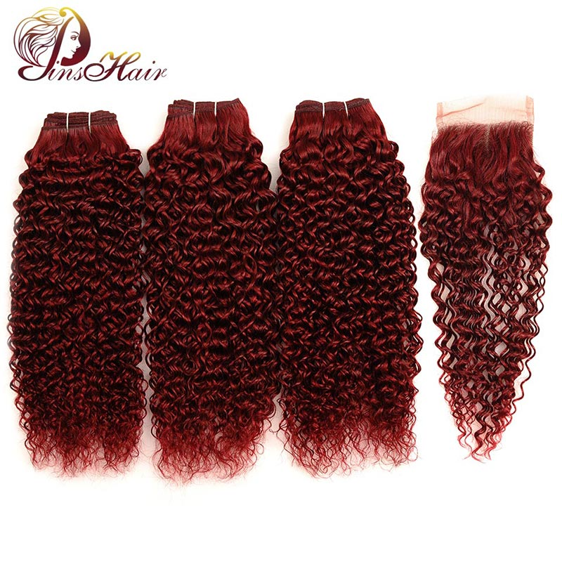 Pinshair Hair Red Bundles With Closure Burgundy 99J Brazilian Kinky Curly Human Hair 3 Bundles With Closure Non-Remy Red Bundles