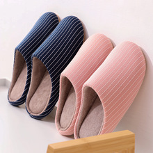 New women Casual Home Shoes Winter Indoor Slippers Soft Plush Cotton House Shoes Footwear Striped Warm Bedroom Men Slippers цена 2017