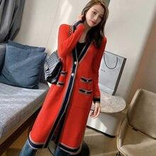 Long cardigan rouge avec col en V pour femmes, vêtement de styliste avec poches croisées, style simple, manteau tricoté surdimensionné pour l'extérieur, collection 2020, B059