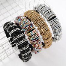 Shiny Crystal Beaded Hairband Width Adjustable Handmade Diamante Headbands for Women Designer 2021 New Fashion Hair Accessories
