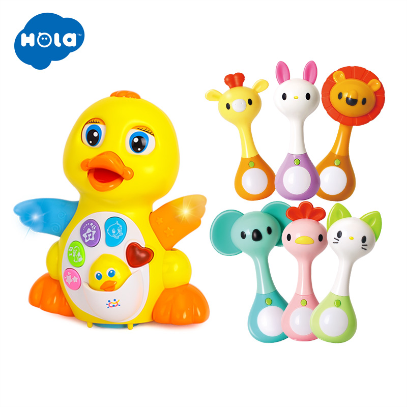 HOLA 808&3134 Yellow Dancing Duck And Baby Musical Hand Shaking Rattle Toy