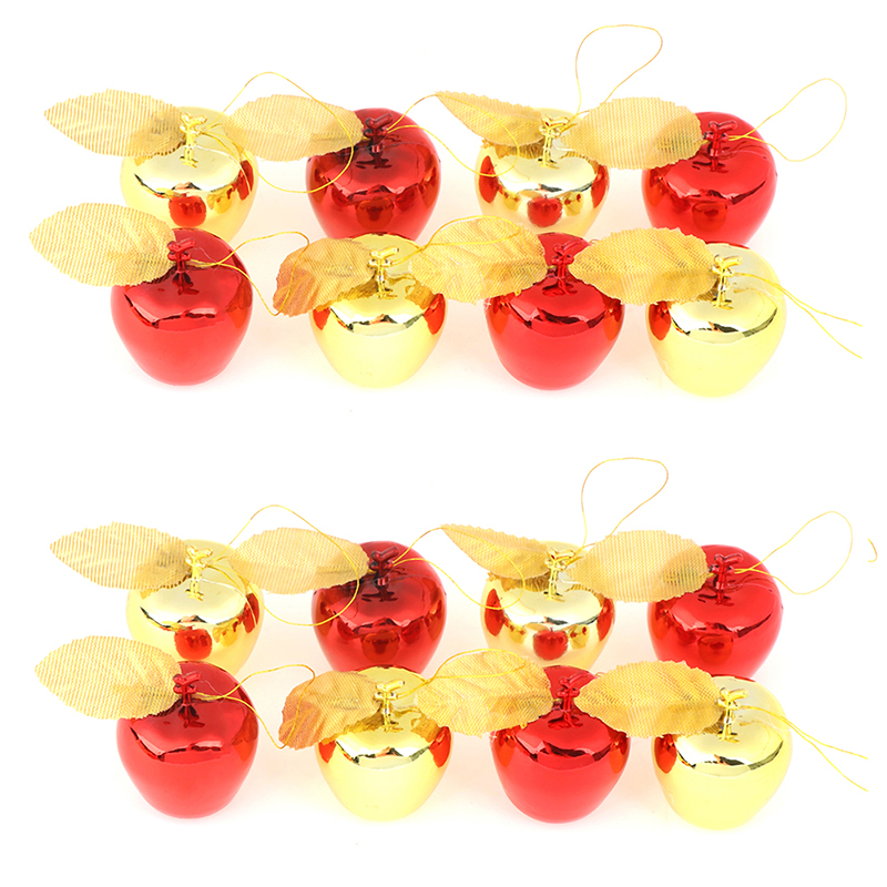 12Pcs Apples Christmas Tree Hanging Ornament Home New Year Party Events Fruit Pendant Red Golden Christmas Decoration For Home