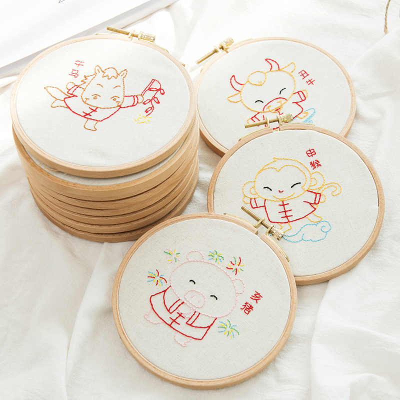 12 Zodiac animals DIY Embroidery Set for Beginner Needlework Kits Chinese Cross Stitch Ribbon Embroidery Arts Craft Sewing Decor