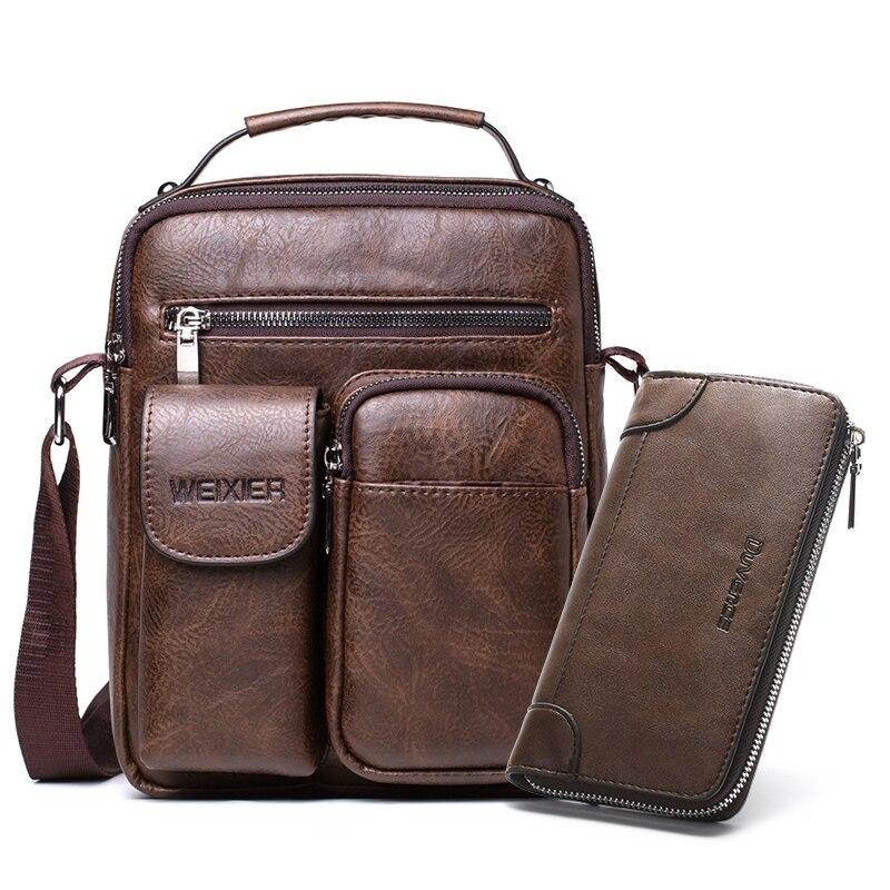 Fashion Men Shoulder Bag PU Leather Handbag For Man Large Capacity Male Crossbody Bags Business Zipper Man Messenger Bag Brown