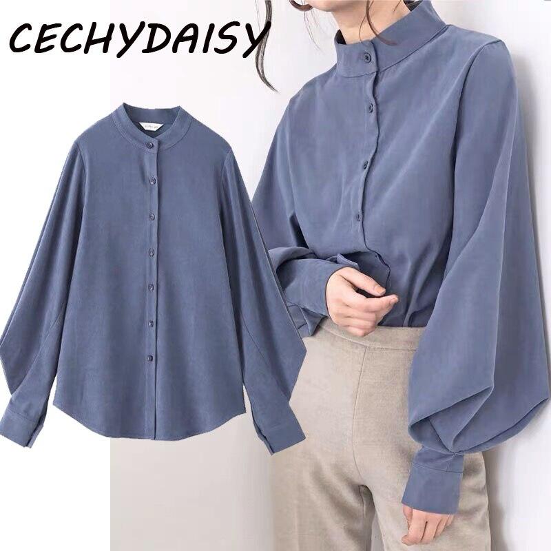Vintage Lantern Sleeve Autumn Winter Big Size Women Shirt Blouses Single Breasted Blouse Female Loose Shirts Tops blusas mujer